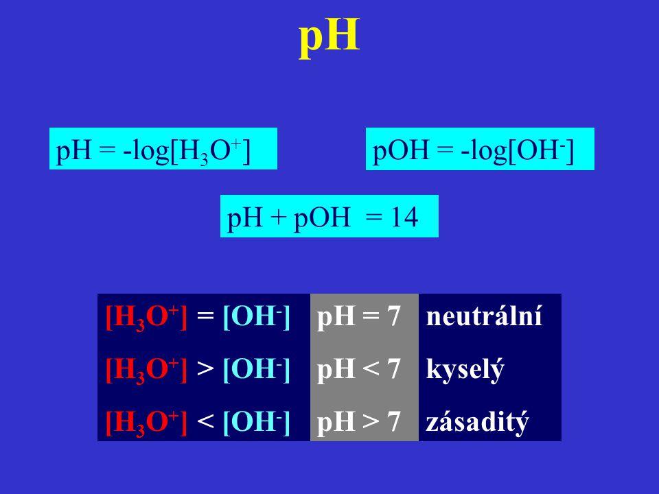 pH pH = -log[H3O+] pOH = -log[OH-] pH + pOH = 14 [H3O+] = [OH-]